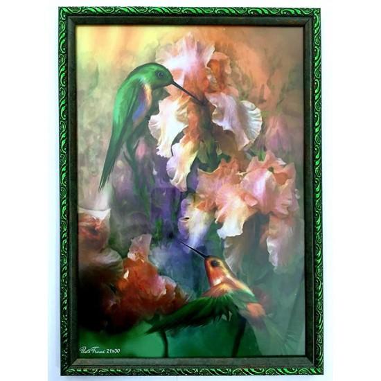 Рамка 21x30 зеленая с цветком